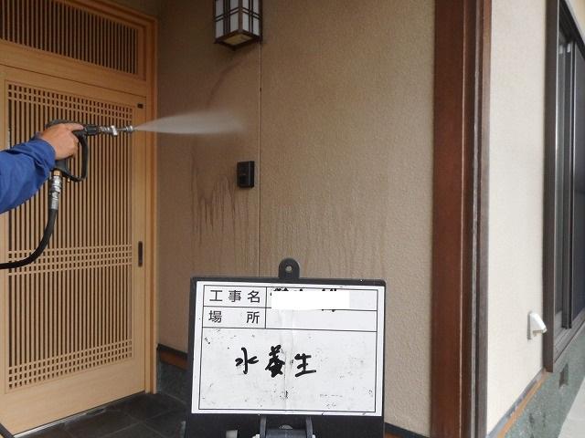 熊本県八代市永碇町で和風造りのお家のモルタル外壁をバイオ洗剤を使用し高圧洗浄を行いました。