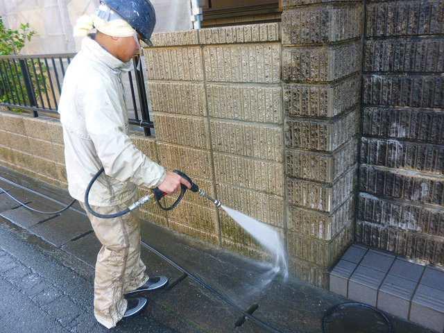 外部ブロック洗浄
