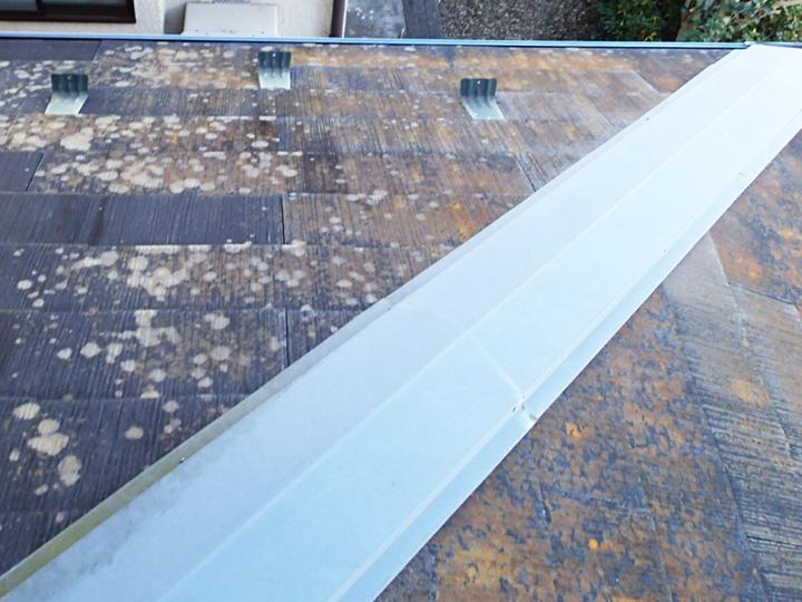 品川区中延にて塗装前の屋根点検調査、22年目になり苔の繁殖が目立つスレート屋根にファインパーフェクトベストの屋根塗装工事をご提案
