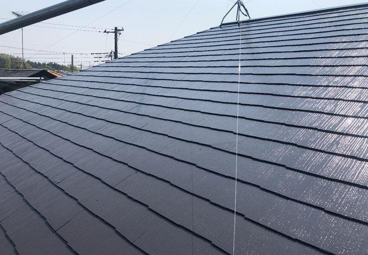 印西市平賀学園台にてサーモアイSi(クールディープグレー)で屋根塗装!スレートに耐久性と美観が蘇りました