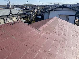 袖ヶ浦市三箇にてスレート屋根の割れ、遮熱塗料を使用し屋根塗装工事